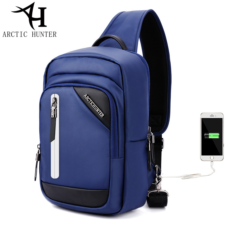 ARCTIC HUNTER Sling Bag for Men Women Chest Bag USB Charge Large capacity travel Casual shoulder crossbody bags for men gift vintage canvas chest bag men new crossbody shoulder bag multifunction casual travel bag fashion large capacity chest bag for men