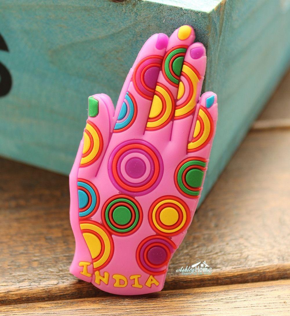 India Praying Hand Amulet Tourist Travel Souvenir Rubber Decorative Fridge Magnet GIFT IDEA
