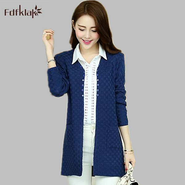 New Cardigan Sweater Korean Style long sleeve Cashmere Long Knitted Sweaters Women's turtleneck Ladies Cardigan Tricot E0419