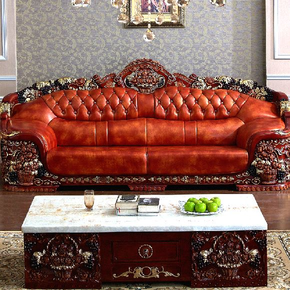 European Royal Living Room Sofa Antique Genuine Leather
