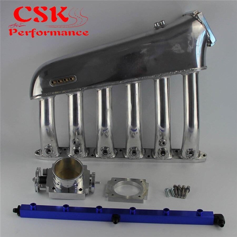 Collecteur d'admission w/corps de Papillon Carburant Rail Kit Adapte Pour BMW E36 E46 M50 M52 M54 325i 328i 323i m3 Z3 E39 528i