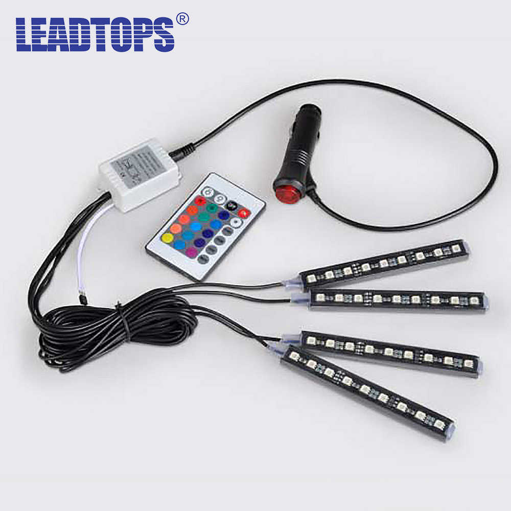 LEADTOPS 4x 3LED Car Charge 12V Glow Interior Decorative 4in1 Atmosphere Blue Light Lamp Atmosphere Inside Foot Lamp BE