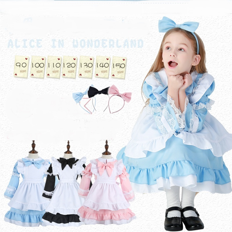 Halloween Women Adult kids Anime Alice In Wonderland Blue Party Dress Alice Dream Women Sissy Maid Lolita Cosplay Costume
