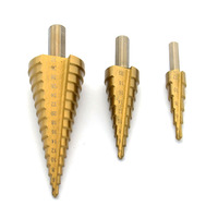 High Quality New 3Pcs Golden Step Bit Tool Hole HSS Steel Large Step Cone Drill Titanium