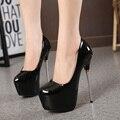 2016 Nova Moda Sexy Mulheres Bombas Plataforma Dedo Do Pé Redondo 16 cm de Salto Alto Sapatos de Trabalho OL Mulheres Bombas Partido Sapatos