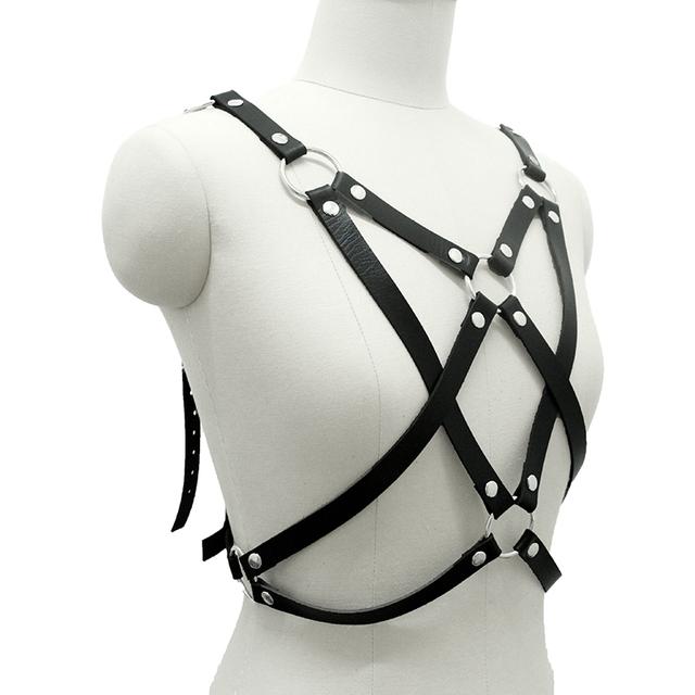 Gothic Harness Sexy Fashion Punk PU Leather Harness Stars Pentagram Body Bondage Pentacle Stars Size Strapless Belts Strapless