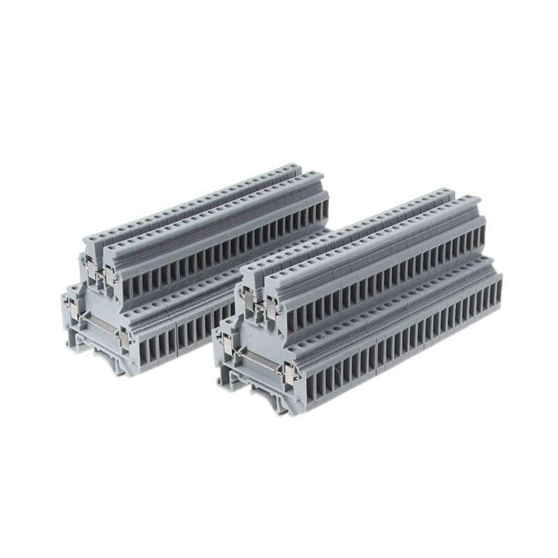 50 Pcs UKK3 DIN Rail Double Level Dual Row Terminal Block 500V 25A 28-12AWG Gray50 Pcs UKK3 DIN Rail Double Level Dual Row Terminal Block 500V 25A 28-12AWG Gray