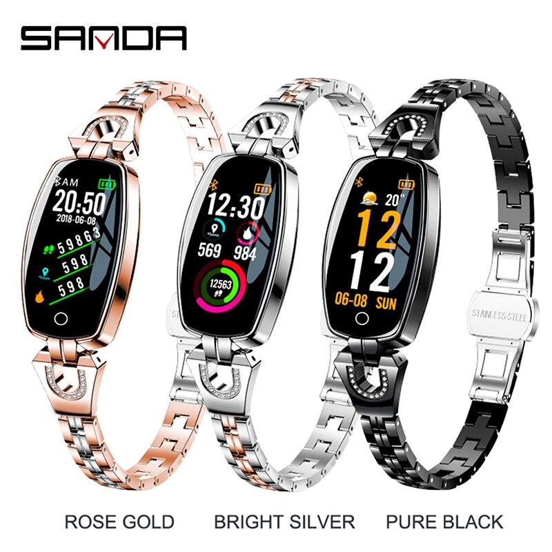 SANDA De Luxe montre connectée Femmes Bluetooth moniteur de fréquence cardiaque Sang Pression traqueur de remise en forme Dames montre intelligente pour ios Android H8