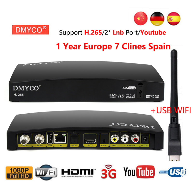 Clines for 1 year Spain D4S Pro DVB-S2 lnb Satellite Receiver Full 1080P HD decoder With USB Wifi H.265 Youtube Sat TV Receptor недорого