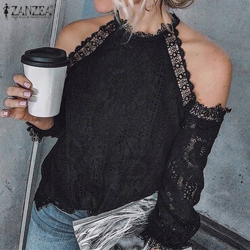2019 Plus Size ZANZEA Fashion Party Blouse Women Solid Cold Shoulder Tunic Tops Summer Long Sleeve Lace Crochet Shirts Female