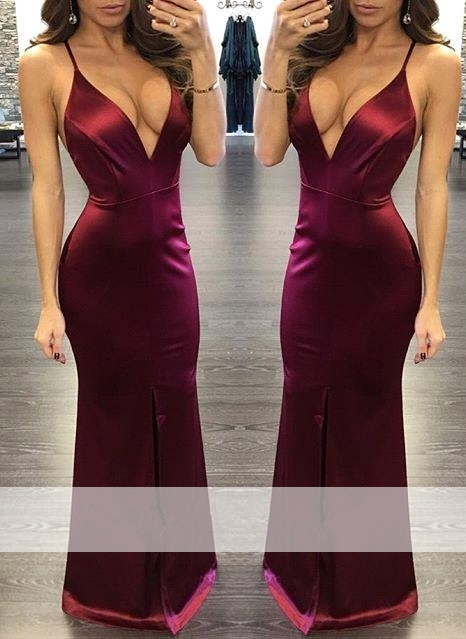 Burgundy 2019   Prom     Dresses   Mermaid Spaghetti Straps Satin Slit Sexy Party Maxys Long   Prom   Gown Evening   Dresses   Robe De Soiree