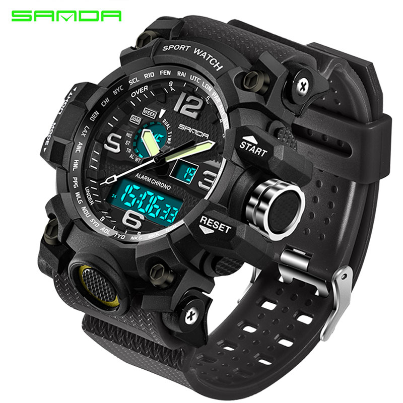 SANDA Men Military Sports Watches Male LED Digital Watch Waterproof Watch Men Luminous Chronograph Relogio Masculino braun chronograph sports watch