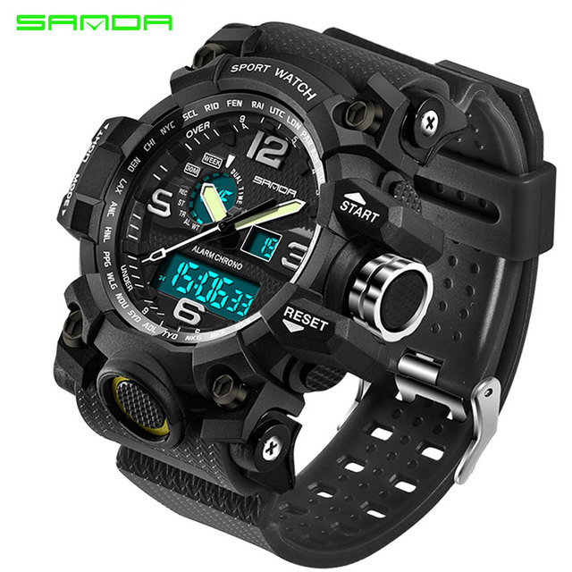SANDA Men Military Sports Watches Male LED Digital Watch Waterproof Watch Men Luminous Chronograph Relogio Masculino