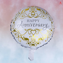 New 1pcs Happy Anniversary 18inch Foil Aluminum Balloons Birthday Wholesale Childrens Toys Wedding Party
