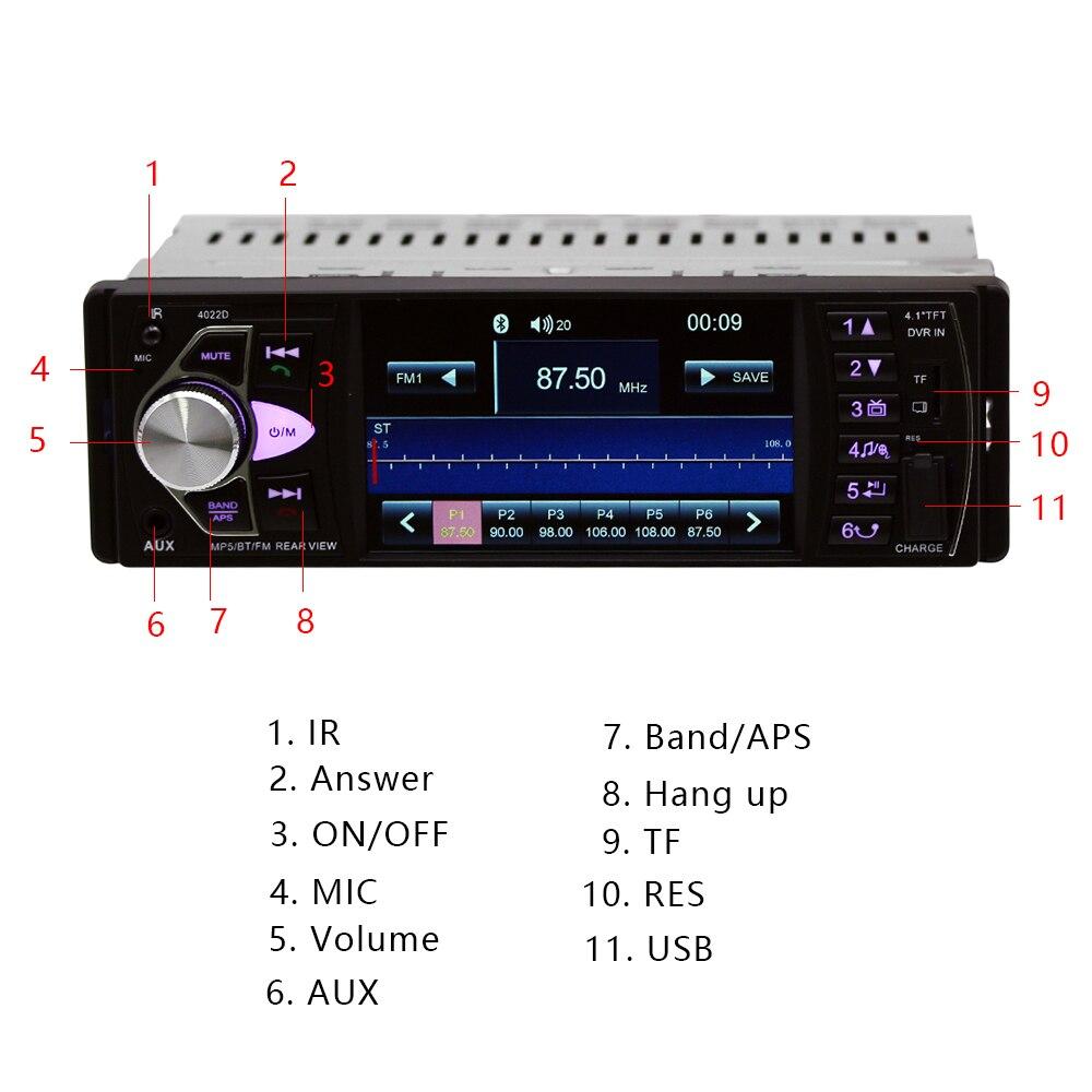 Hikity Автомагнитола 1 din 4022d FM радио авто аудио стерео Bluetooth Автомагнитола Поддержка камеры заднего вида рулевое колесо Contral