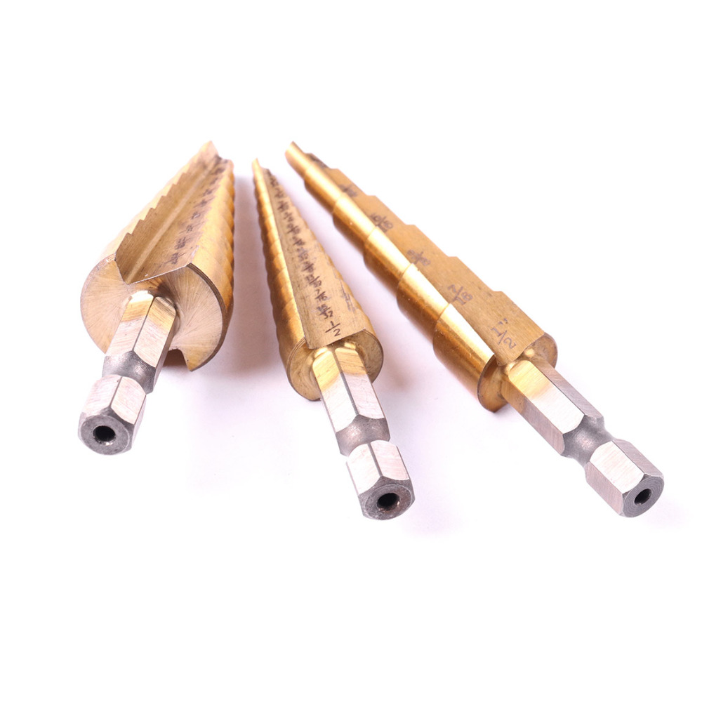 3pcs/Set Professional Stepped Drill Straight Flute Hex Shank HSS Titanium Step Drill Bit size 3/16-1/2 1/4-3/4 1/8-1/2'' 5pcs step drill bit set hss cobalt multiple hole 50 sizes sae step drills 1 4 1 3 8 3 16 7 8 1 4 3 4 1 8 1 2 3 16 1 2 drill bits