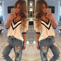 Women Lady Cotton Long Sleeve V Neck Loose Solid Casual Shirt Tops Blouse