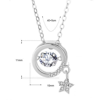 Funmor Star Sparkling Cubic Zircon 925 Sterling Silver Necklace 18K Gold Fine Jewelry For Women Girls Vacation Prom Accessories