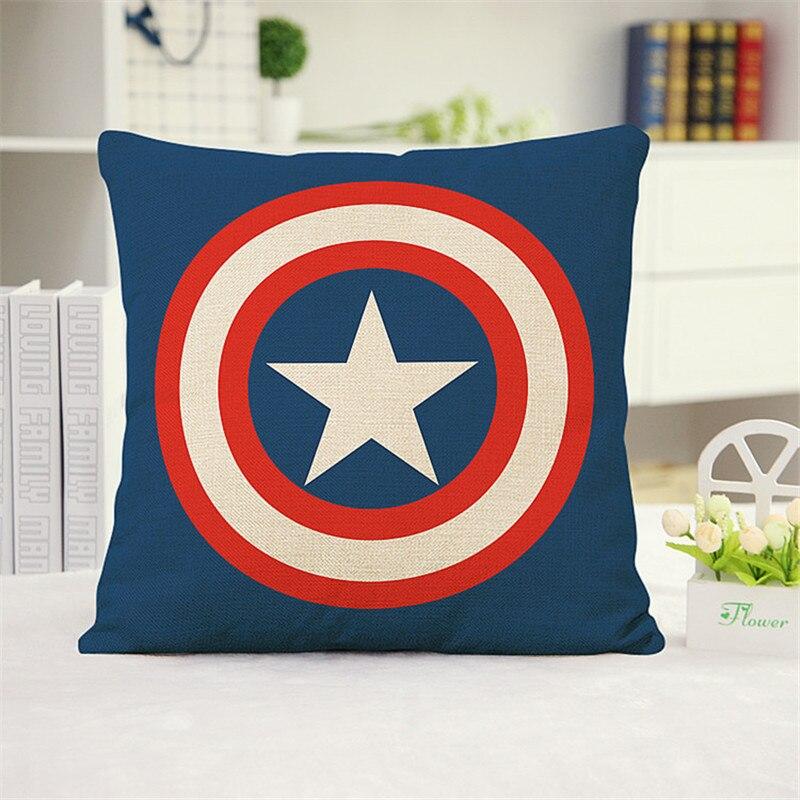 Cartoon super heroes Batman mark spider Captain Iron cushion cover Sofa Pillow case Car Chair Home room Decoration for kids gift