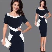 Womens Elegant Optical Illusion Colorblock Contrast Modest Slim Work Business Casual Party Sheath Pencil Dress