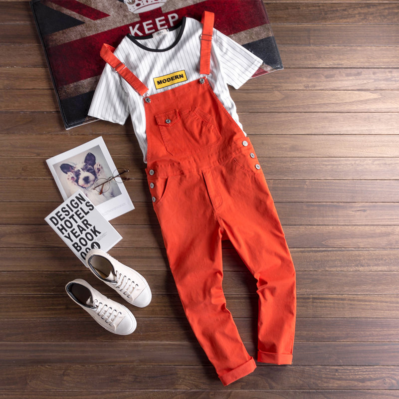 Fashion Men's Bib Overalls Pencil Pant Orange Solid Color Casual Korean Style Man Black Jumpsuits Rompers Ankle-Length