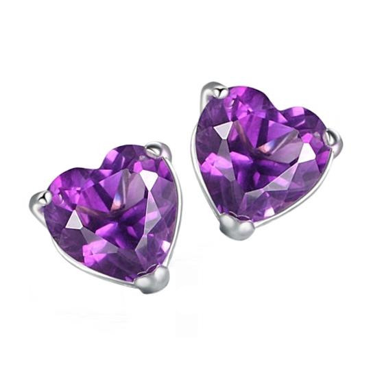925 Sterling silver natural heart amethyst Garnet stud earrings fashion Birthstone gift customization se0013a paul smith блузка