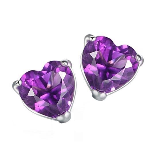 925 Sterling silver natural heart amethyst Garnet stud earrings fashion Birthstone gift customization se0013a schuller рамка для фотографий