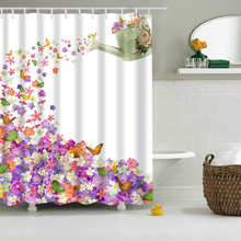 100% 3D Polyester Fabric Washable Modern Design Shower Curtain Sheer Waterproof Panel Hooks Feather Bathroom Product Accessories