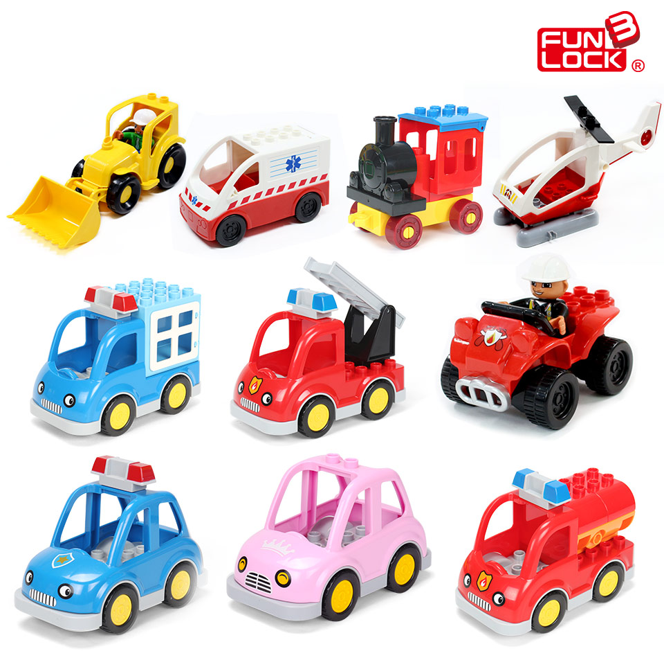 Funlock Duplo Blocks Toys City Transportation Series Vehicle Bricks Parts Car Bus Ship Jeep Truck Plane Kids Gift funlock duplo blocks toys farm animal figures bunny cat dog cow pony pig sheep rooster educational toys for kids gifts