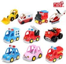 Funlock Duplo Blocks Toys City Transportation Series Vehicle Bricks Parts Car Bus Ship Jeep Truck Plane