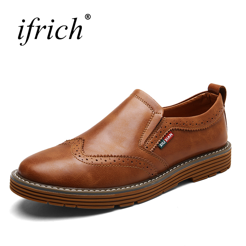 Ifrich Spring Summer Cow Leather Flat Shoes for Men Comfortable Man Luxury Brand Loafers Slip on Men Casual Footwear Black men cow split leather shoes casual loafers soft and comfortable oxfords non slip flats luxury brand designer shoe zapatos hombre