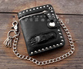 Men's Black Bifold Leather Chain Wallet Biker Punk Gothic Stub Purse