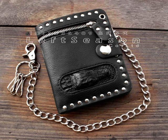 8e0006263 Negro de los hombres Cartera de cuero cadena cartera Biker Punk gótico  talón bolso