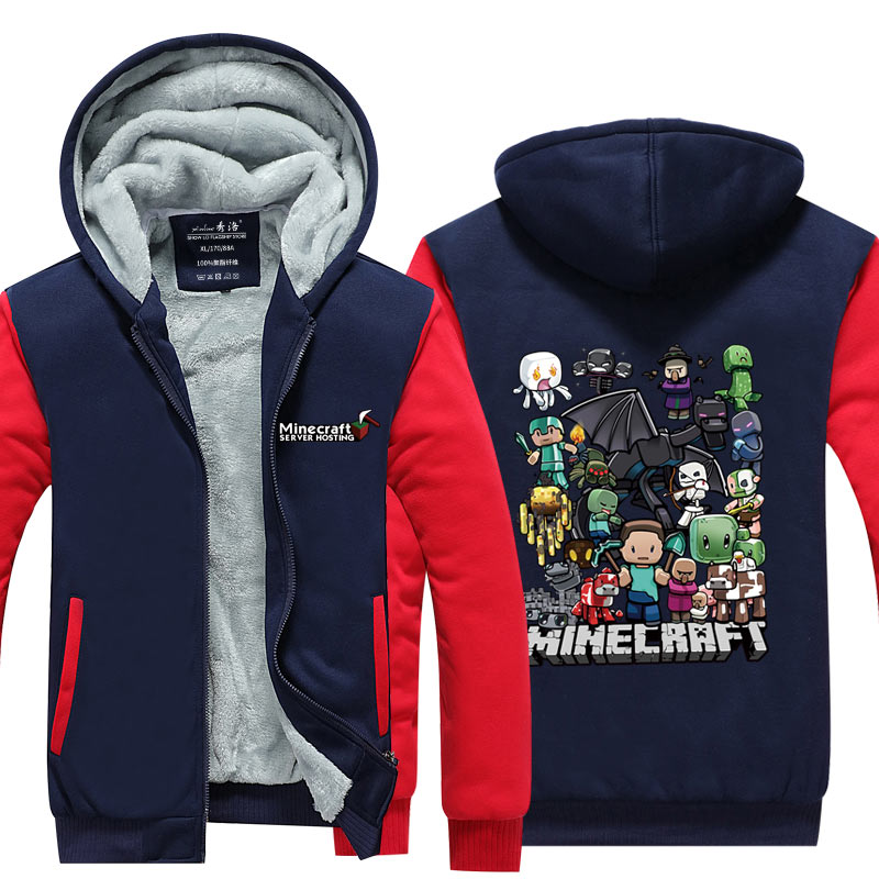 US $33 42 49% OFF|Fans Made Casual Coat Anime Gaming Minecraft Zipper  Hoodies Cosplay Costume My World Unisex Winter Hoodie with Pocket-in  Hoodies &