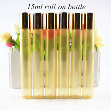 20pcs/lot 15ml Pearl Gold Color Glass Roll on Bottle Empty Essential Oils Bottle Travel Perfume Glass Vials with Roller Ball