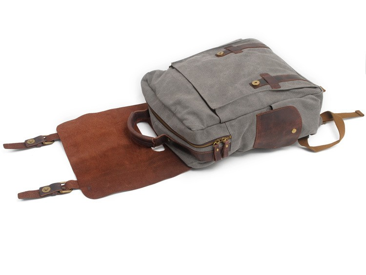 Picture of the Eiken travel Manitoba backpack, grey variant made of canvas and leather