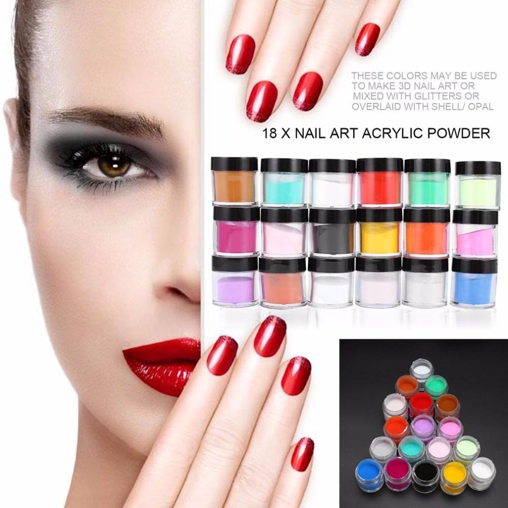 18 unids Nail Art Kit de herramientas Polvo de acrílico UV Polvo - Arte de uñas - foto 3