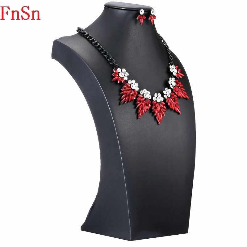 FnSn nowy wyrazisty zestawy naszyjników kolczyki kryształowe biżuteria kobiety wesele prezent wysokiej jakości turecki zestaw biżuterii Parure S137