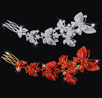 2014 Newest Silver Red Bridal Clear Butterfly Hair Comb Tiara For Wedding Hair Jewelry Rhinestone Crystal