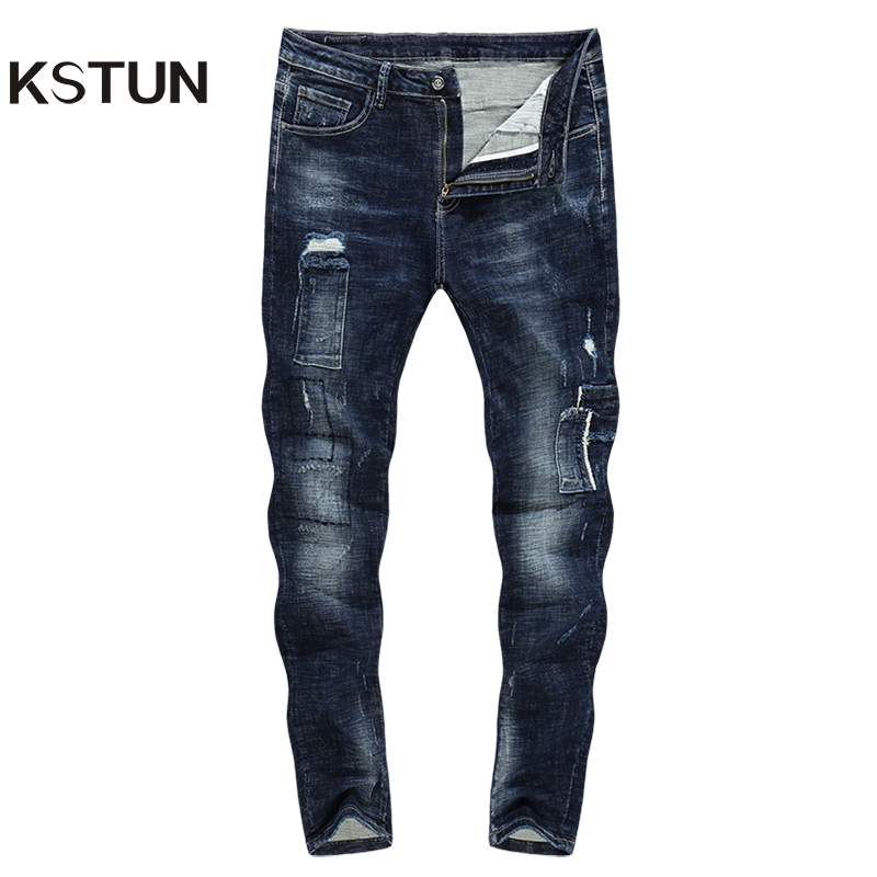 KSTUN Skinny   Jeans   Men Ripped Biker   Jean   Distressed Denim Clothes Man Patchwork Stretch Blue Pencils Pants Streetwear Hot Sales