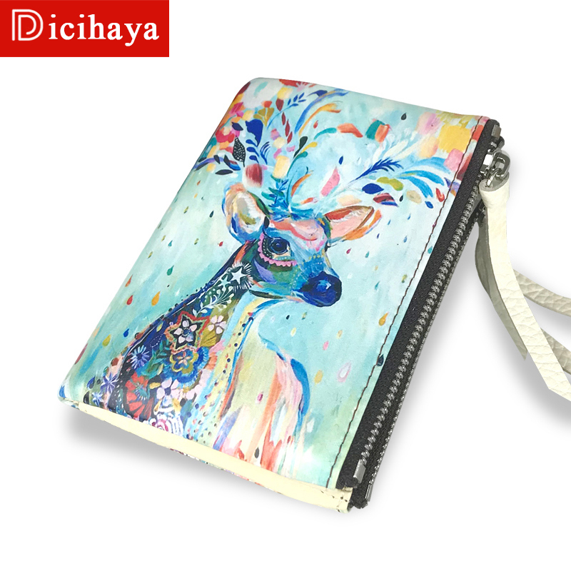 DICIHAYA Deer Design Purse Women Animal Print Leather Wallets Coin Small Wallet Zipper Hasp Short Lady Purse Card Holder 702-6 emoticon grocery print coin purse