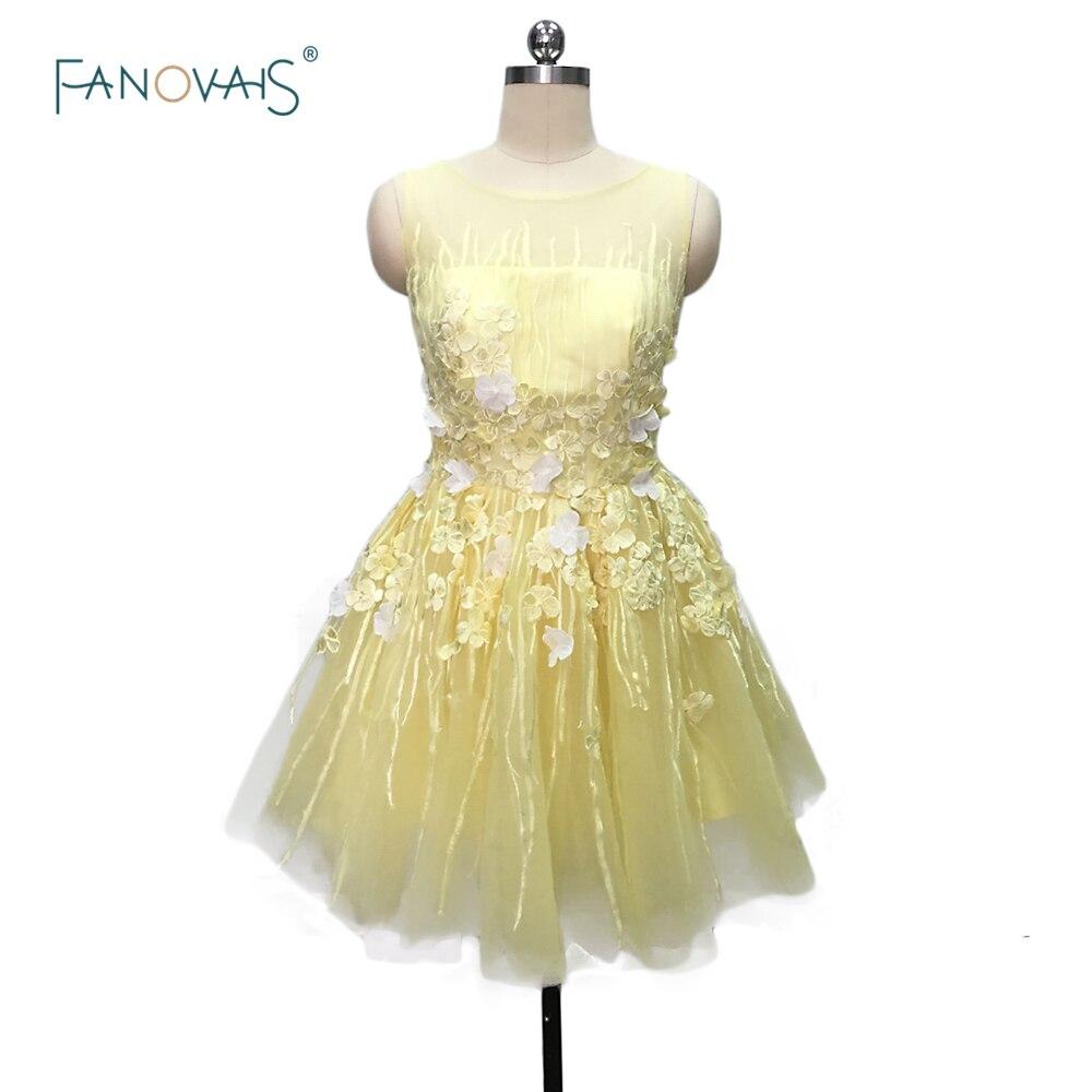 Hot Sale Charming Yellow/Pink Short Cocktail Dresses 2019 Backless Sheer Tulle Prom Dresses Vestido de Fiesta CKD-05