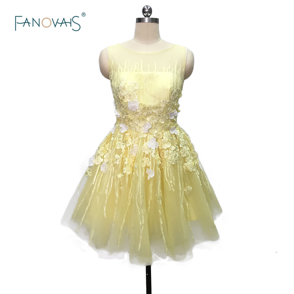 Hot Sale Charming Yellow/Pink Short Cocktail Dresses 2019 Backless Sheer Tulle Prom Dresses Vestido de Fiesta CKD-05
