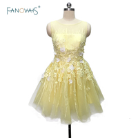 Hot Sale Charming Yellow/Pink Short Cocktail Dresses 2019 Backless Sheer Tulle Prom Dresses Vestido de Fiesta CKD 05