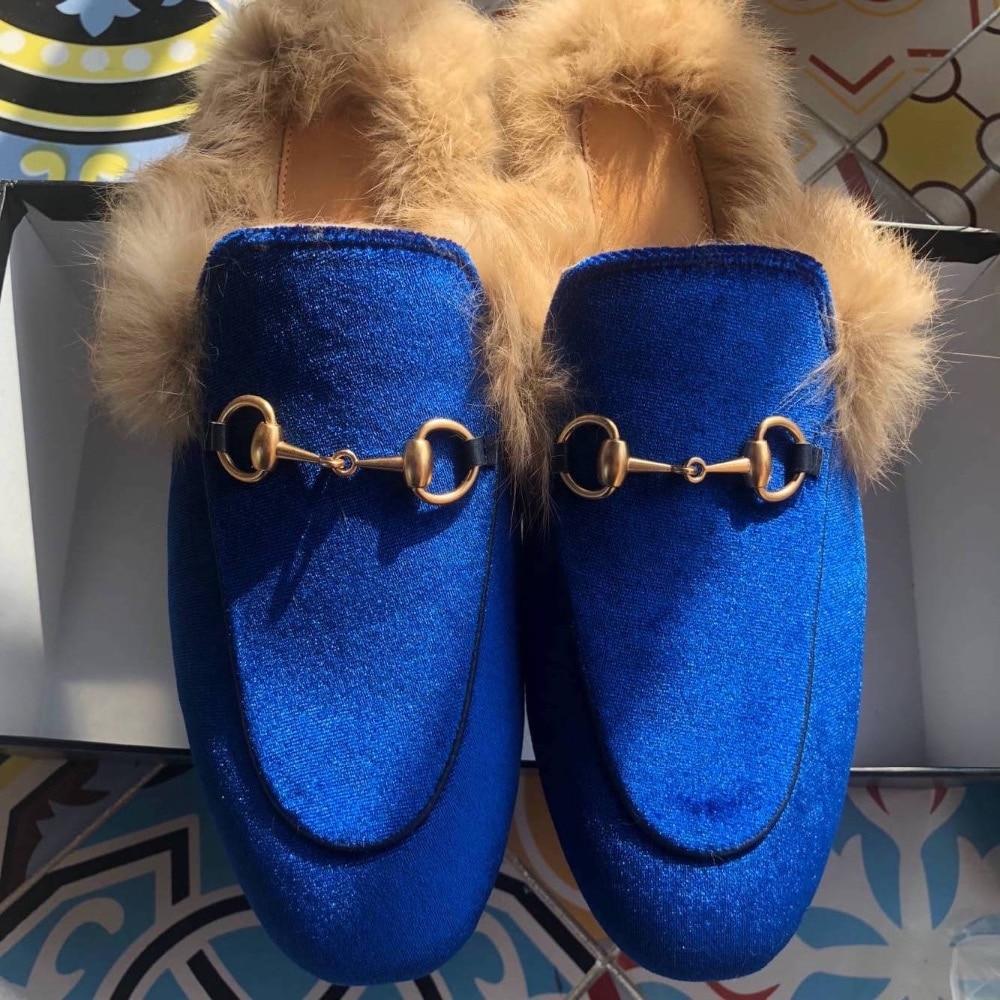 Bleu Doux Qualité 34 Belle Top 41 Taille Mules Plat Lapin Chaussures Couleur Femmes De Fourrure Velours Diapositives Faux Mocassins SA6qwx6