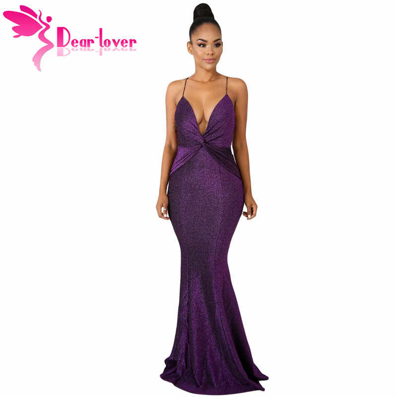 Dear Lover Sexy Gowns Black Purple Glitter Sparkle Bling Backless  Sleeveless Mermaid Maxi Dress vestidos de 976cd57f82b4