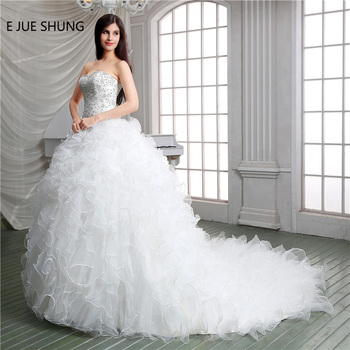 E JUE SHUNG White Organza Beaded Embroidery Ball Gown Wedding Dresses Sweetheart Tiered Bridal Dresses Wedding Gowns