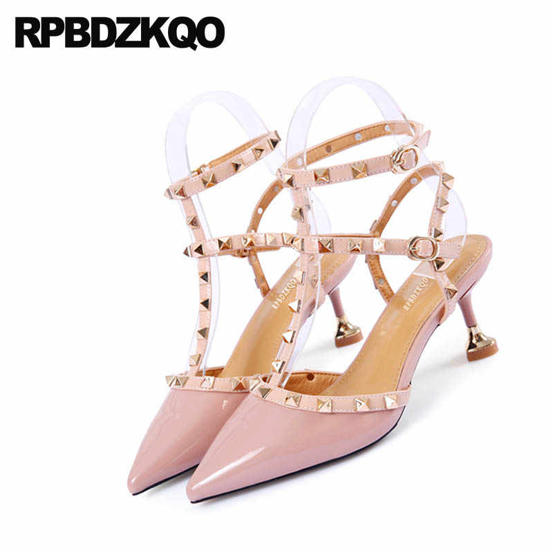 3b79b8a2cb6 ... Pumps High Heels Rock Stud Shoes Slingback Rivet T Strap Sandals  Designer Women Roman Pink Stiletto ...