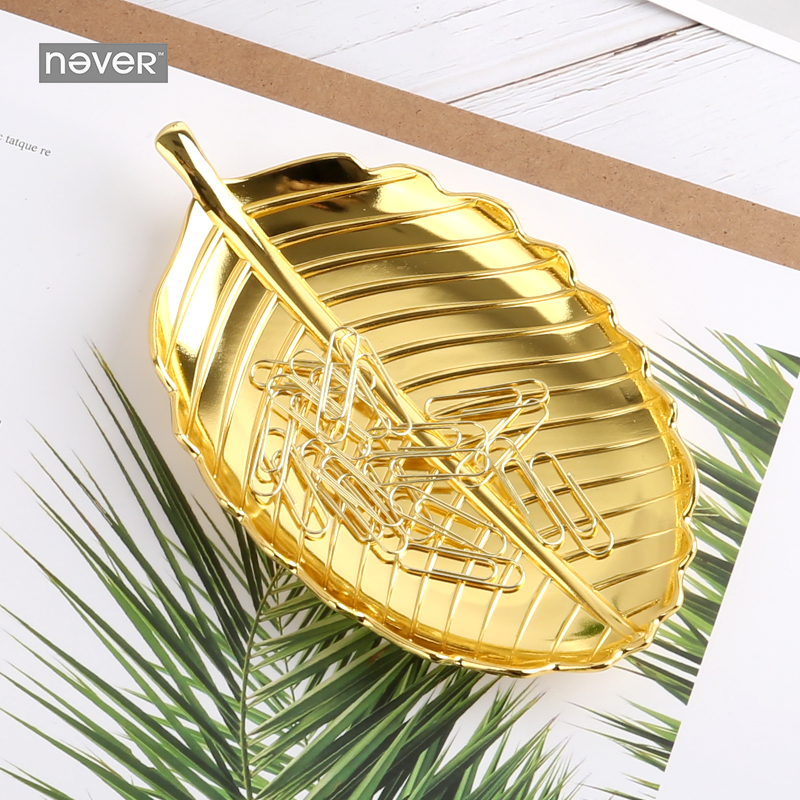 NEVER Golden Leaf shape Clip holder with Metal Paper Clips Stationery tray Clip Dispenser desk storage tray Office Accessories