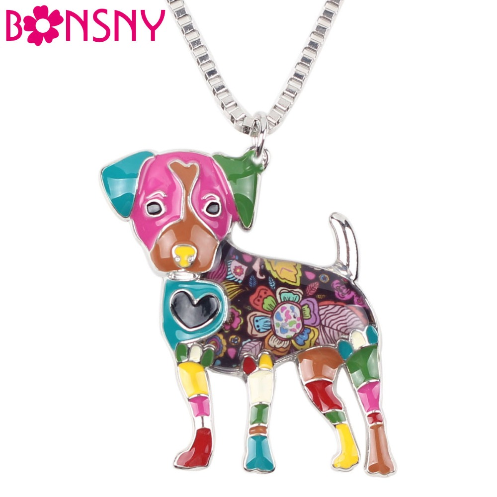Bonsny Statement Metal Alloy Jack Russell Dog Choker Necklace Chain Collar Bulldog Pendant Fashion New Enamel Jewelry  Women